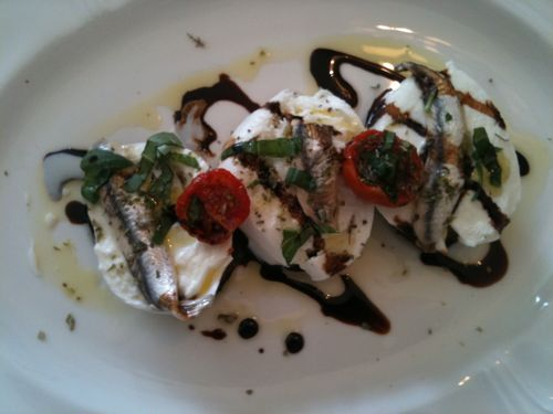 Buffalo mozzarella with aubergines and anchovies